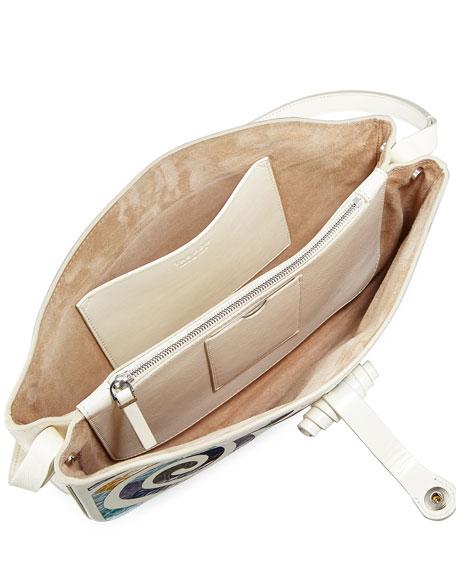 Croissant Crocodile Coil-Mosaic Shoulder Bag
