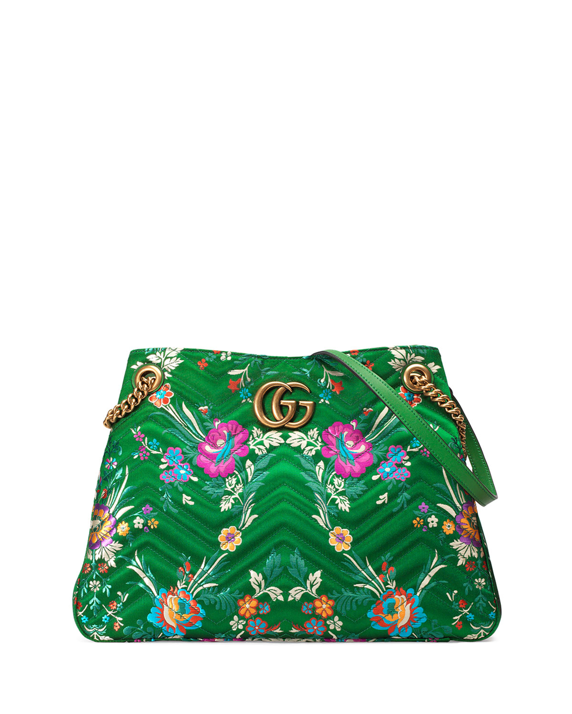 90b19fed3b7f Gucci GG Marmont Matelassé Jacquard Shoulder Bag, Green Metallic ...