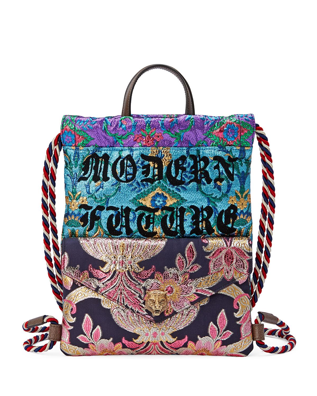 a322d7a21c3 Gucci Modern Future Small Brocade Drawstring Backpack