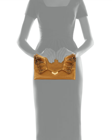 Isabella Laser-Cut Ruffled Clutch Bag, Gold