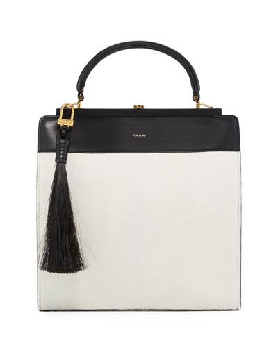 Large Bicolor Leather Satchel Bag w/Calf Hair Tassel, White/Black
