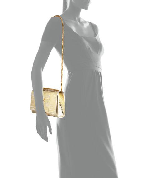 Kate Monogram Medium Snakeskin Tassel Shoulder Bag, Gold