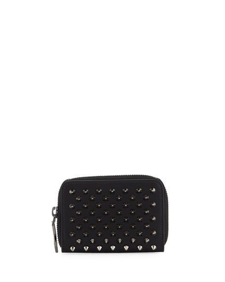 Christian Louboutin Panettone Spiked Coin Purse, Black/Gunmetal