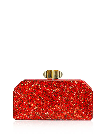 Faceted Rectangle Clutch Bag, Red