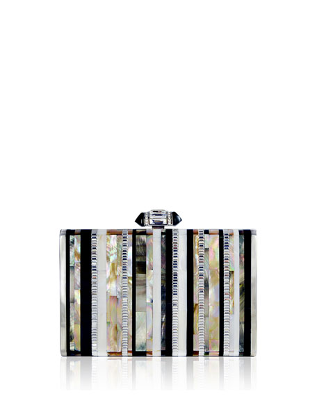Judith Leiber Couture Tall Slender Shell Stripes Clutch