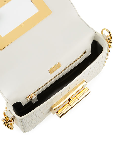 Natalia Medium Alligator Shoulder Bag, White