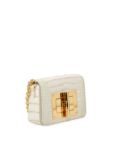Natalia Medium Alligator Shoulder Bag, White