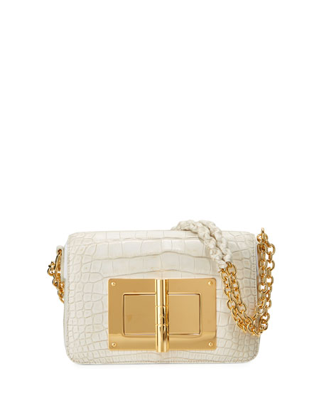 TOM FORD Natalia Medium Alligator Shoulder Bag, White