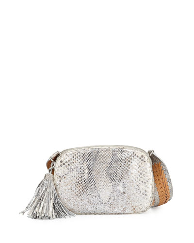 Python Small Camera Crossbody Bag, Silver