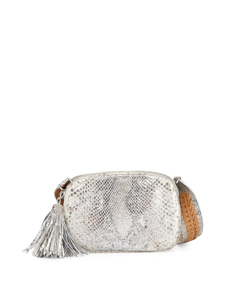 Nancy Gonzalez Python Small Camera Crossbody Bag, Silver