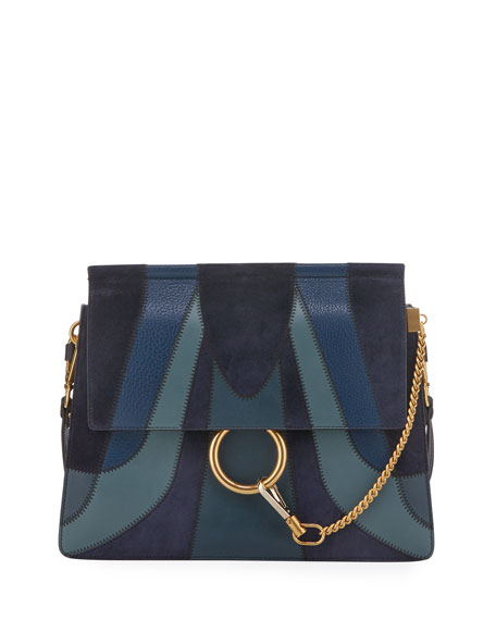 Chloe Faye Medium Patchwork Shoulder Bag, Blue
