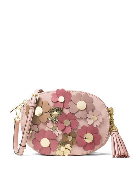 Ginny Medium Floral Messenger Bag, Pink