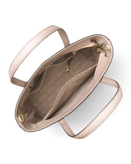 Hayley Large Top-Zip Leather Tote Bag, Pink