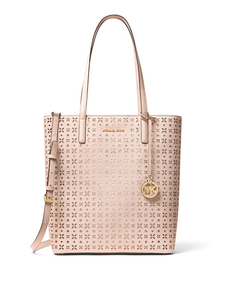 Hayley Large Top-Zip Leather Tote Bag, Pink