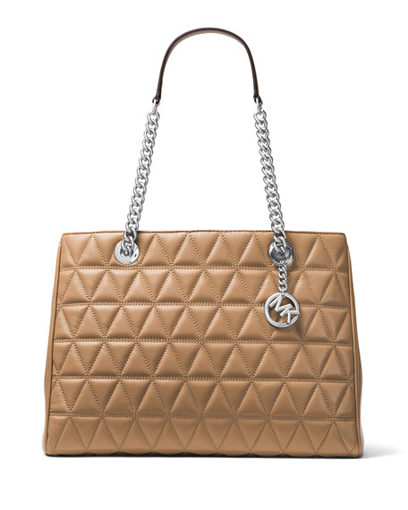 Michael Kors Scarlett Large Quilted Tote Bag Brown Neiman Marcus