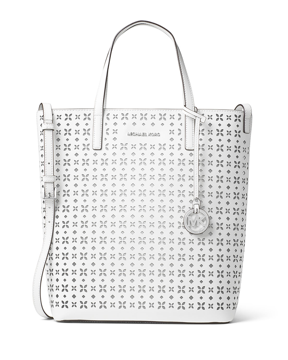 a6d5c1846157 MICHAEL Michael Kors Hayley Large Top-Zip Leather Tote Bag, White ...