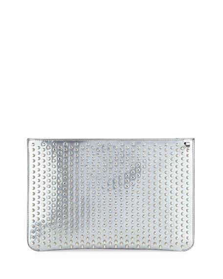 Christian Louboutin Loubiclutch Spiked Clutch Bag, Gray