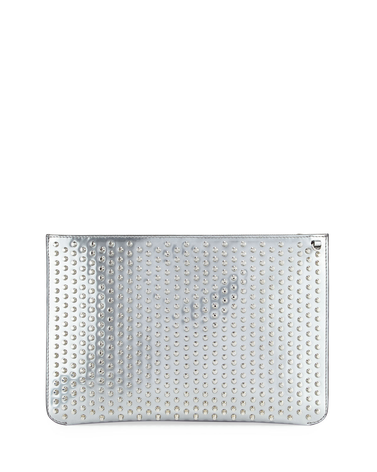 cefd8fd3341 Loubiclutch Spiked Clutch Bag, Gray