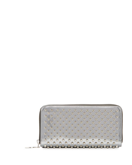 Christian Louboutin Panettone Spiked Zip Wallet, Silver