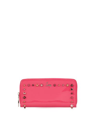 Panettone Spiked-Trim Zip Wallet, Pink