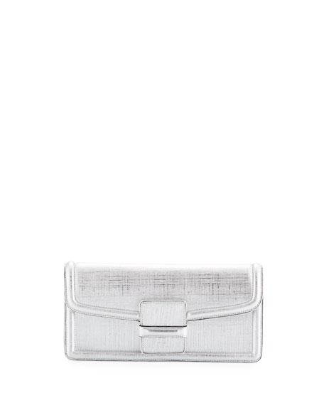 Metallic Leather Slip Clutch Bag