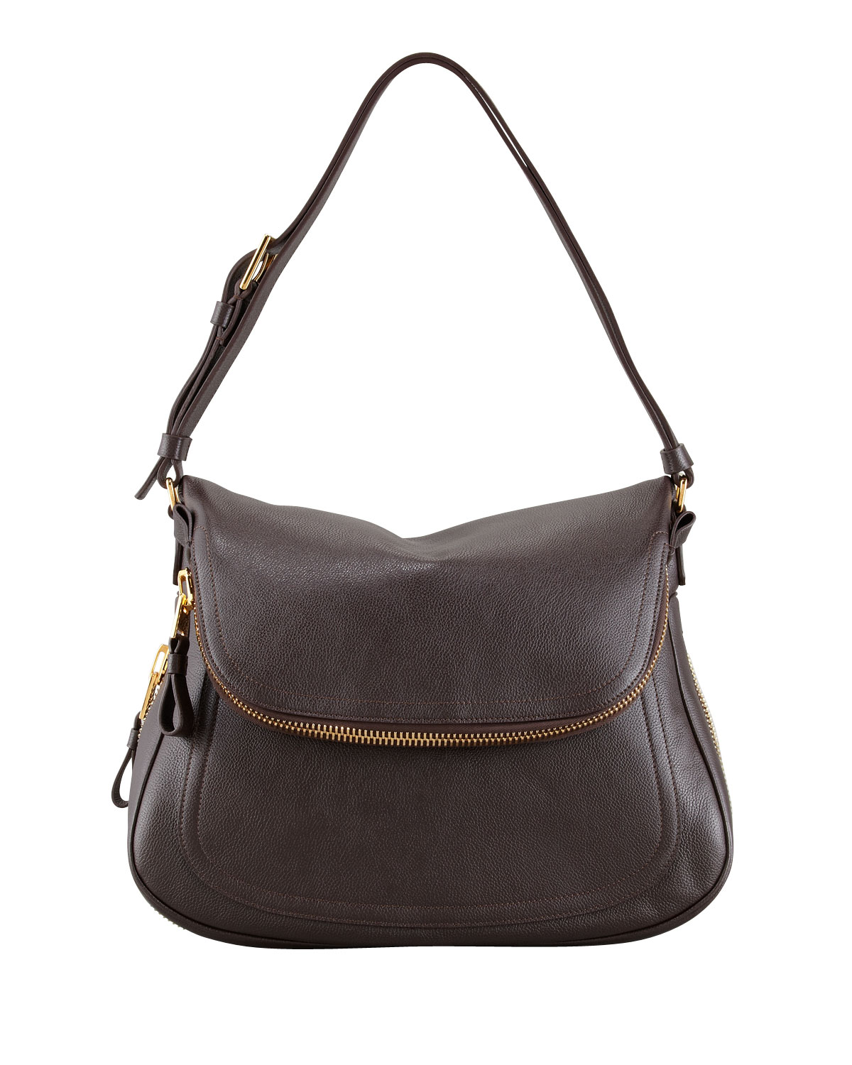 Jennifer Medium Leather Shoulder Bag Brown