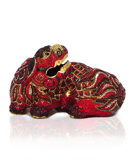 Judith Leiber Couture Ming Foo Dog Minaudiere, Crimson