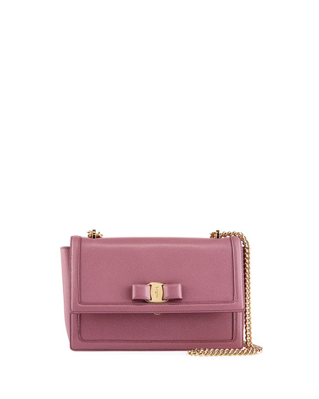Salvatore Ferragamo Ginny Medium Vara Flap Crossbody Bag,