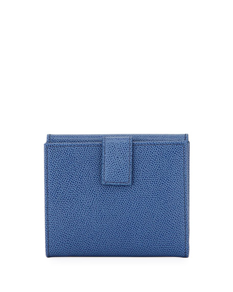Gancio Clip Pebbled Leather French Wallet, Blue