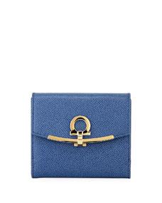 Salvatore Ferragamo Gancio Clip Pebbled Leather French Wallet, Blue