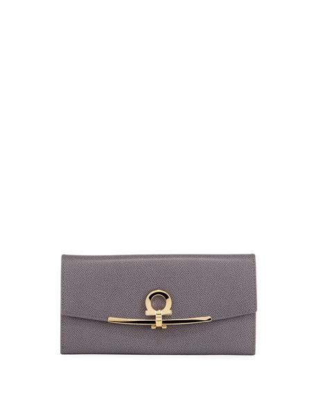 Salvatore Ferragamo Icona Intercontinental Leather Wallet, Gray