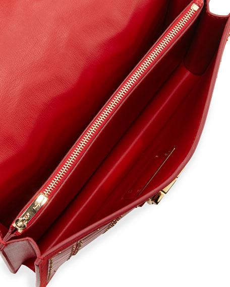 Medium Studded Leather Shoulder Bag, Red