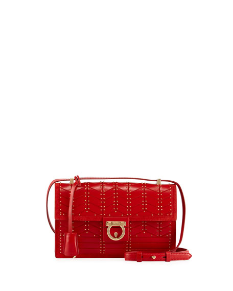 Medium Studded Leather Shoulder Bag, Red