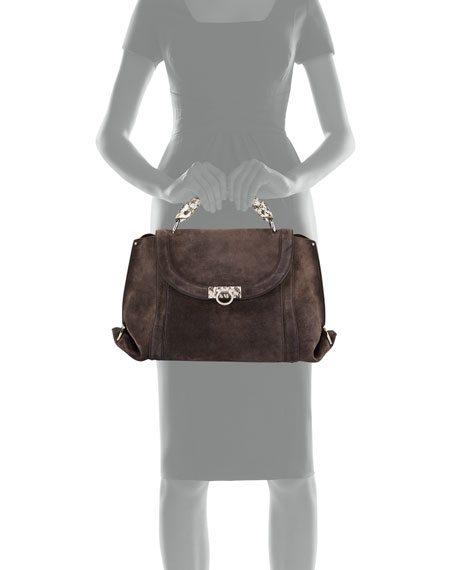 Sofia Medium Soft Satchel Bag, Brown