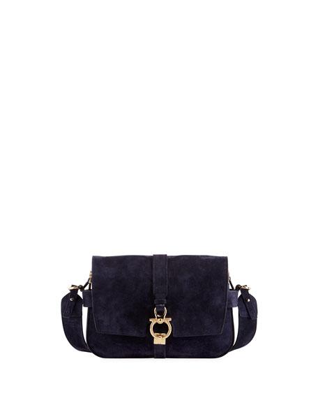 Salvatore Ferragamo Fiore Small Suede Saddle Bag, Blue