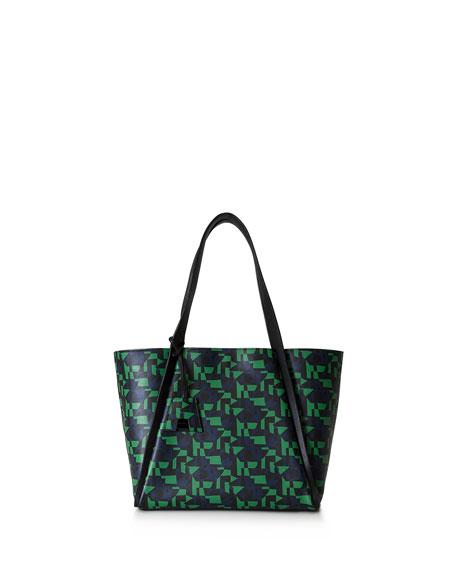 Akris Alex Medium Geometric-Print Tote Bag, Green/Multi