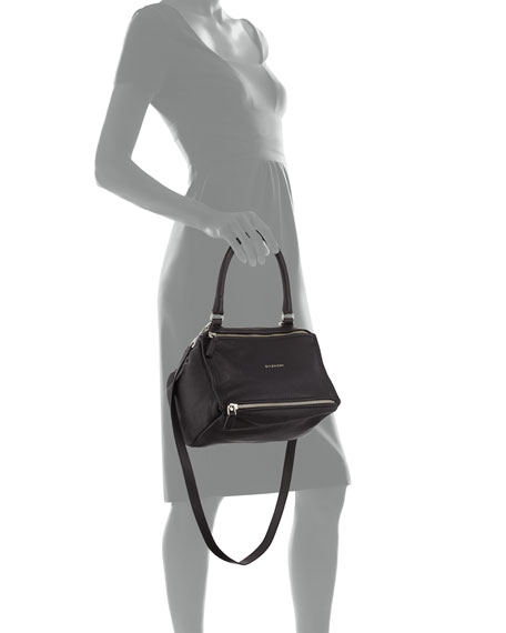 Pandora Small Sugar Leather Shoulder Bag, Black