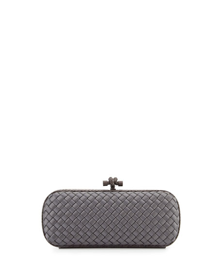 Satin Elongated Knot Clutch Bag, New Light Gray