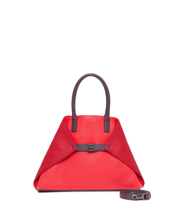 Akris Ai Small Top-Handle Leather Shoulder Bag, Crimson Burgundy ... b5b88383dd