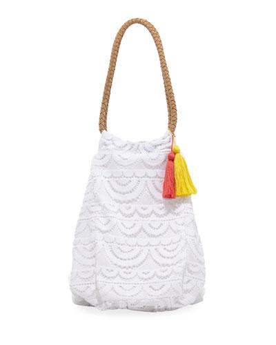 Allison Crocheted Lace Beach Tote Bag, White