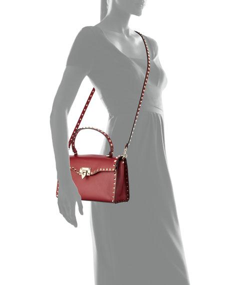 Rockstud Small Single-Handle Satchel Bag, Red