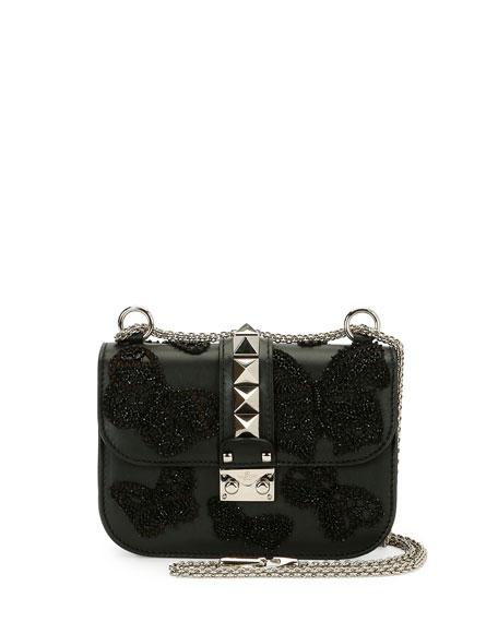 Valentino Lock Small Butterfly Shoulder Bag, Black