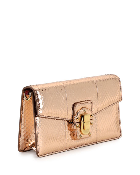 Lucia Laminated Ayers Shoulder Bag, Salmon