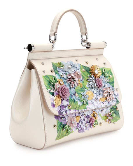 Dolce & Gabbana Sicily Medium Leather Floral Embellished Satchel ...