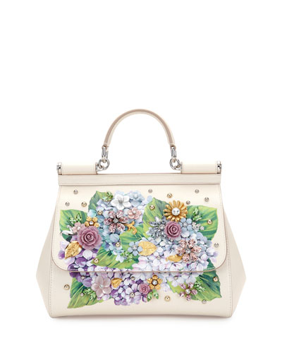 0ff6df0809 Dolce   Gabbana Sicily Medium Leather Floral Embellished Satchel Bag