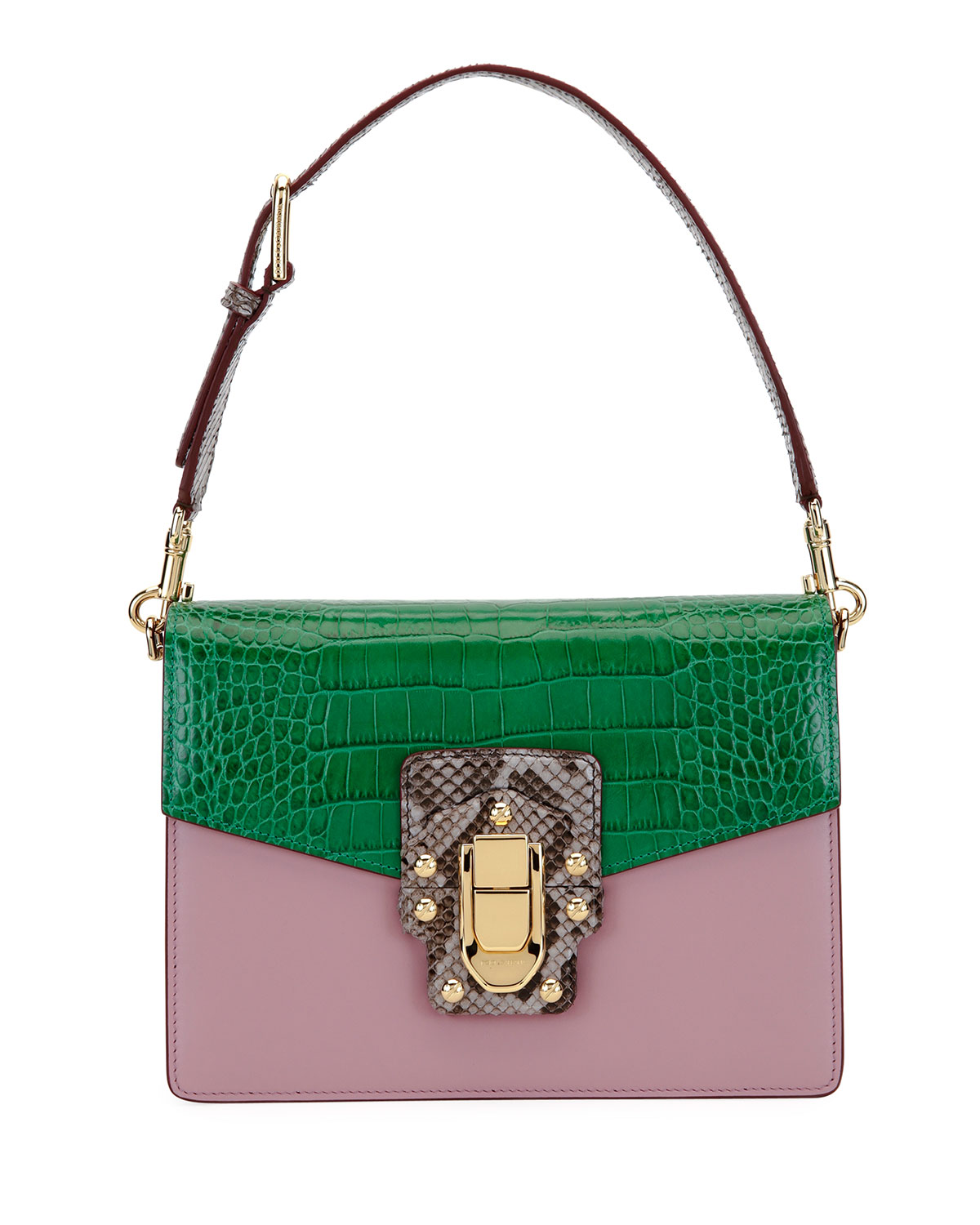 Lucia Colorblock Leather Crocodile Gusset Bag With Python Pink Green