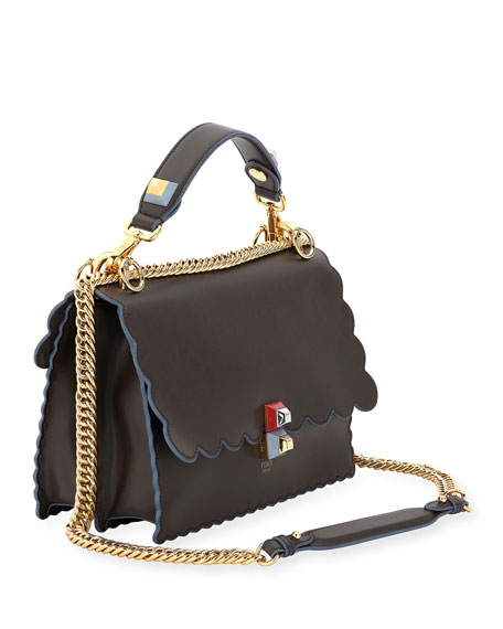 Kan I Scalloped Leather Shoulder Bag, Black/Multi