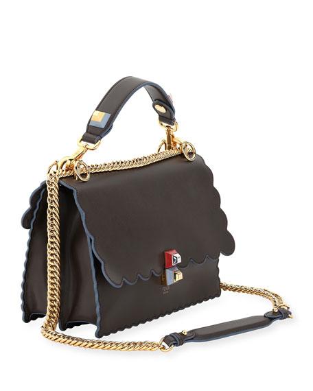 Kan I Scalloped Leather Shoulder Bag, Black/Multi