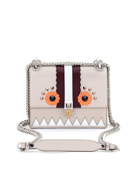 Fendi Kan I Faces Mini Shoulder Bag, Gray/Multi
