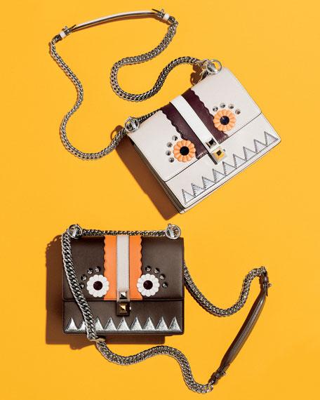 Kan I Faces Mini Shoulder Bag, Brown/Multi